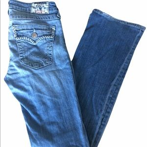 True Religion Distressed Bootcut Jeans, 28